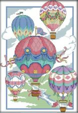 Illusion of Hot-Air Balloons. 14CT counted cross stitch kit. Craft brand new.