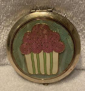 Dooney & Bourke Compact Mirror Cupcake Design Green Pink Gold 2 Mirrors
