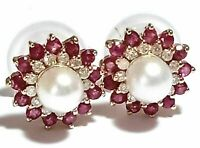 Vintage  1.36 Ct Ruby Pearl & Diamond Floral Stud Earrings 14k Yellow Gold Over