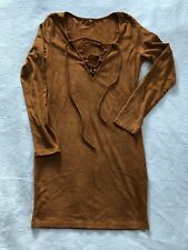 Suede Burnt Orange Lace Up Dress Medium
