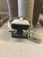NWT UNO de 50 Open Cuff Arrow Tooth Silver Grey Crystal Bracelet