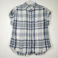 American Eagle Women's Top Large L Blue Check Plaid White Short Sleeve Collared