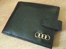 Audi wallet 24ct gold plated badge genuine leather clasp uk seller soft black