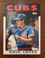 DAVE LOPES 1986 TOPPS AUTOGRAPHED SIGNED AUTO BASEBALL CARD CUBS 125