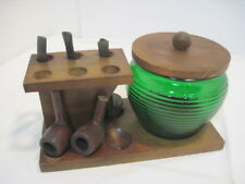 OLD VINTAGE WOOD PIPE STAND GREEN BEEHIVE GLASS HUMIDOR TOBACCO SOLID PIPES