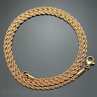 60CM ROSE GOLD IP STAINLESS STEEL 2MM ROPE TWIST CHAIN MENS WOMENS NECKLACE