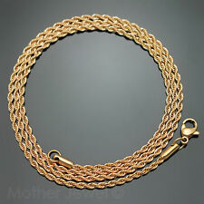 50CM ROSE GOLD IP STAINLESS STEEL 2MM ROPE TWIST CHAIN MENS WOMENS NECKLACE