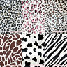 Zebra Giraffe Pink Brown Leopard Milk Cow Wild Animal Print Satin Fabric 1 Yard