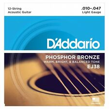 D 'Addario EJ38 12-Cuerdas Guitarra Acústica Fósforo Bronce Cuerdas-Light - 10-47