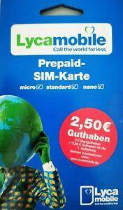 """Lyca-Mobile Prepaid Simkarte, Vodafone D2 Netz """"BLITZ VERSAND"""" mit Bonusguthaben"""
