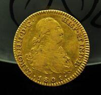 1801-M FA SPAIN 2 ESCUDOS KM#435.1 -87.5% GOLD