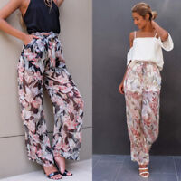 Fashion Women Casual Long Loose Chiffon Pants Pleated Wide-leg Culottes Trousers
