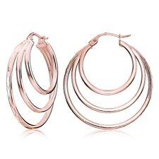 Rose Gold Flash Silver Diamond-cut Triple Layer Circle Hoop Earrings