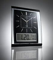 Silent Wall Clock Digital Large Jumbo Display Black Silver 37cm