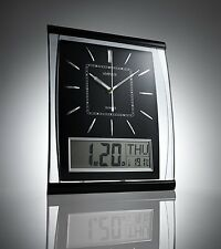 Silent Wall Clock Digital Large Jumbo Display Black Silver 37cm