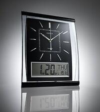 SILENT Orologio da parete display digitale di grande Jumbo Nero Argento 37cm