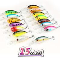 15Pcs Fishing Lures Crankbait Wobble Lot Minnow Fish Bass Tackle 6 Hooks Bait