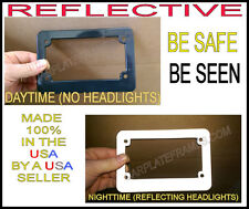 MOTORCYCLE REFLECTIVE BLACK LICENSE PLATE FRAME BE SEEN AT NIGHT!  SAFETY