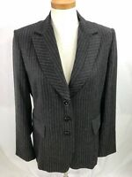 Philippe Adec Paris Womens Gray Pinstripe Wool Blend Blazer Jacket 10