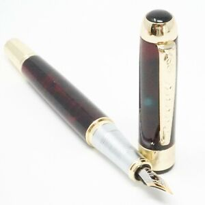 Jinhao X250 Lava Red Ice Marble Fountain Pen, FINE Nib Gold Trim - UK SOLD!