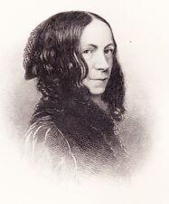 Fine 1877 Steel Engraving Portrait of ELIZABETH BARETT BROWING, Victorian poet.