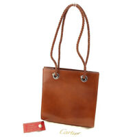 Cartier Tote bag Brown Gold Woman Authentic Used T5043