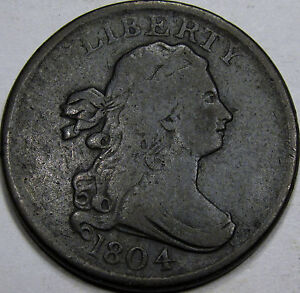 1804 Draped Bust Half Cent Choice F-VF... Nice and Original, Pl 4 - Stemless Rev