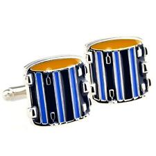 Drum Set Drummer Pair Cufflinks Wedding Groom Fancy Gift Box & Polishing Cloth