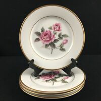 Set of 4 VTG Bread Plates Noritake Lindrose Pink Rose Floral 5234 Gold Japan