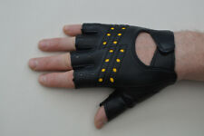 Millington Fingerless Faux Leather Cycling / Work Gloves Black Size M (Small).