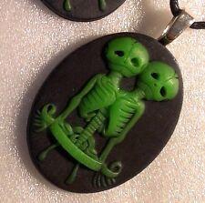 Green Twin Head Skeleton, Weird Alien Skull Halloween Necklace Body Bones Gothic