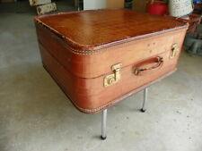 Vintage Crocodile Alligator Embossed Leather Hardshell Suitcase Luggage 21x18x9