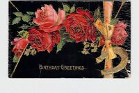 ANTIQUE POSTCARD BIRTHDAY GREETINGS ROSES HORSE SHOE ROSES RIBBON GOLD EMBOSSED
