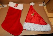 Christmas Sparkle Santa Hat & Stocking 1 Of Each Adult Head Size Be Jolly 150H