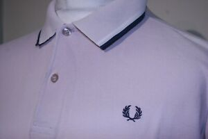 Fred Perry Twin Tipped Polo Shirt - M/L - Lilac/French Navy/White - M1200 - Top