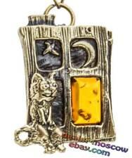 Bronze Solid Brass Baltic Amber Kind Keychain Cat Dreamer IronWork