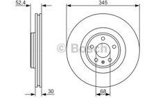 1x BOSCH Disco de freno delantero Ventilado 345mm Para AUDI Q5 0 986 479 747
