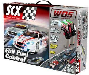 SCX Digital WOS 1/32 Full Fuel Control Slot Car Set w Mercedes & Aston Martin