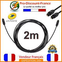 Câble Fibre Optique Audio Numérique Cable Toslink S/PDIF SPDIF 2 mètres