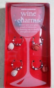 BOSTON WAREHOUSE SET OF 6 NAUTICAL WINE CHARMS SHELLS CRABS LOBSTER - NEW IN BOX