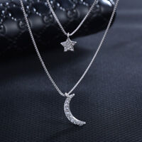 925 Sterling Silver Necklace Star Moon Pendant Double Chain For Women Jewelry