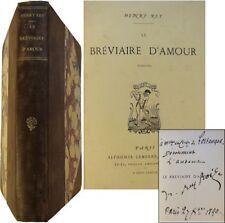 Le Bréviaire d'amour poésies EO 1889 envoi signé Henry Rey-Roize