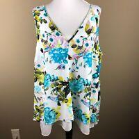 Worthington Women's Sleeveless Top Blouse Plus Size 1X Blue Pink Floral Bird