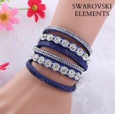 Bracelet gourmette cuir 3 rangées rivets  Swarovski® Elements ajustable bleu roi