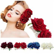 Handmade Red Rose Flower Hair Comb Hairpin Bridesmaid Hair Wedding Accessories