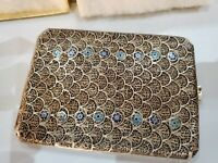 Antique 1920s STERLING SILVER FILIGREE & ENAMEL Handcrafted Cigarette Case 4 x 3