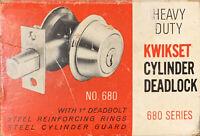 Vintage Kwikset Cylinder Deadlock #680/#480  US 3 Polished Brass Finish NEW H1-3