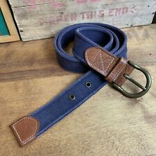 LL BEAN Signature preppy belt Mens 40 Leather And Canvas Navy Blue Cotton