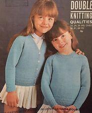 "K1 - Knitting Pattern - DK Children's V-neck Cardigan & Round Jumper - 24-26"""