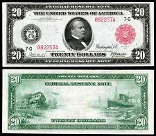 NICE CRISP UNC.1914 $20 RED SEAL FEDERAL RESERVE NOTE COPY READ DESCRIPTION
